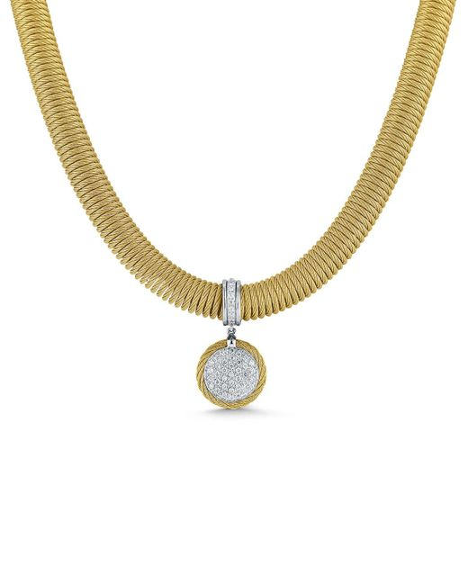 Alor - Metallic Spring Coil Cable & Round Diamond Pendant Necklace - Lyst