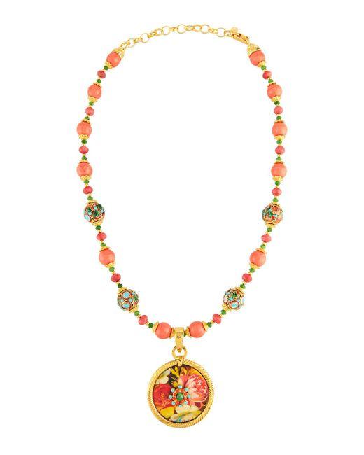Jose & Maria Barrera - Metallic Cloisonné Beaded Necklace W/ Floral Découpage Pendant - Lyst