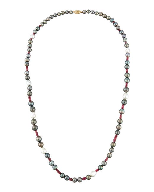 Belpearl | Multicolor Pearl Necklace With Pink Sapphire | Lyst