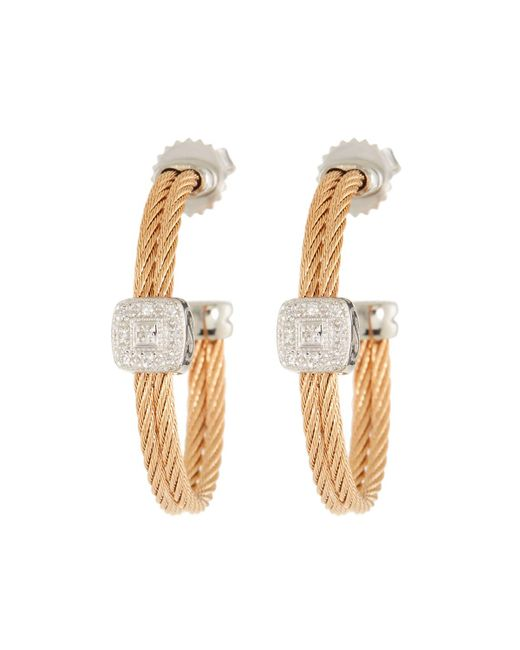 Alor - Metallic Classique Diamond-station Hoop Earrings - Lyst