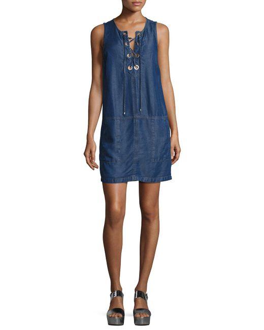 Splendid | Blue Lace-up Sleeveless Chambray Dress | Lyst