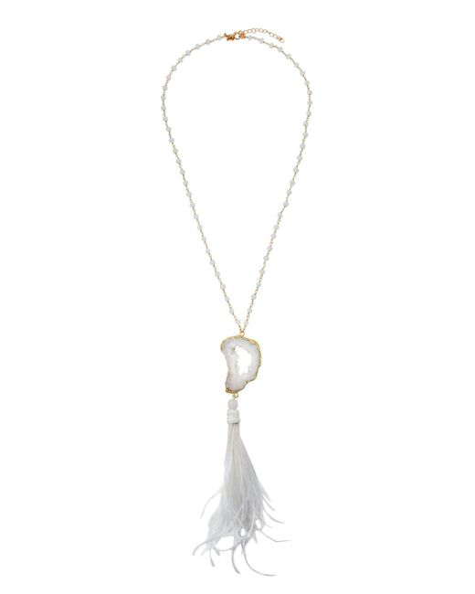 Panacea - White Feather Crystal Pendant Necklace - Lyst