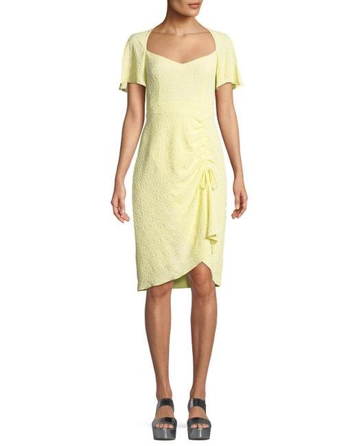 Nanette Lepore Yellow Portrait Scoop Neck Tie Dress Lyst