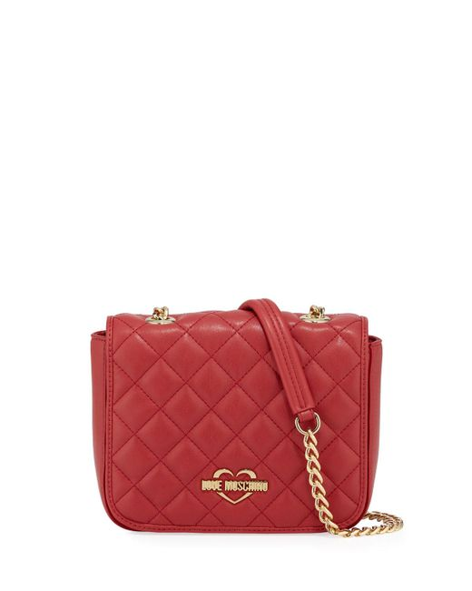 Love Moschino - Red Quilted Chain Shoulder Bag - Lyst