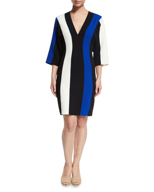 Derek Lam - Blue Batwing-sleeve Colorblock V-neck Dress - Lyst