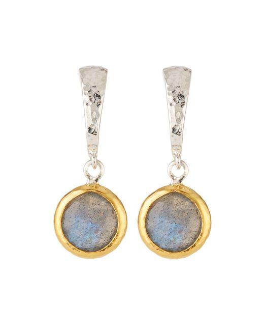 Gurhan - Gray Small Wide Hoop Earrings W/ Labradorite Drop - Lyst
