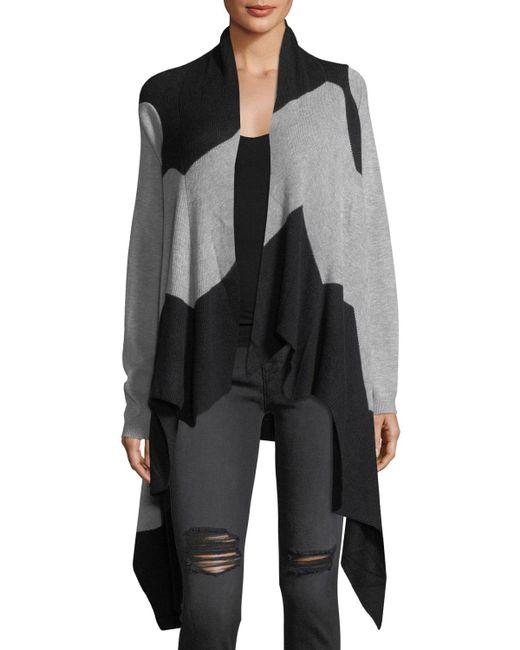 Neiman Marcus - Black Colorblock Cascade Knit Cardigan - Lyst