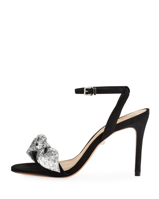 4a1269ff9261a ... Schutz - Black Anabella Suede Ankle-strap Sandals With Glitter Bow -  Lyst ...