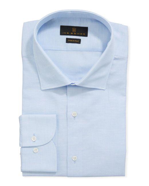 Ike Behar Men's Cotton/linen Dress Shirt Blue for men
