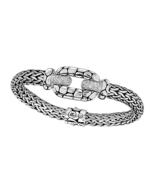 John Hardy - Metallic Silver White Topaz Lava Station Bracelet - Lyst