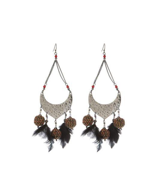 Nakamol - Red Open Bead & Feather Dangle Earrings - Lyst