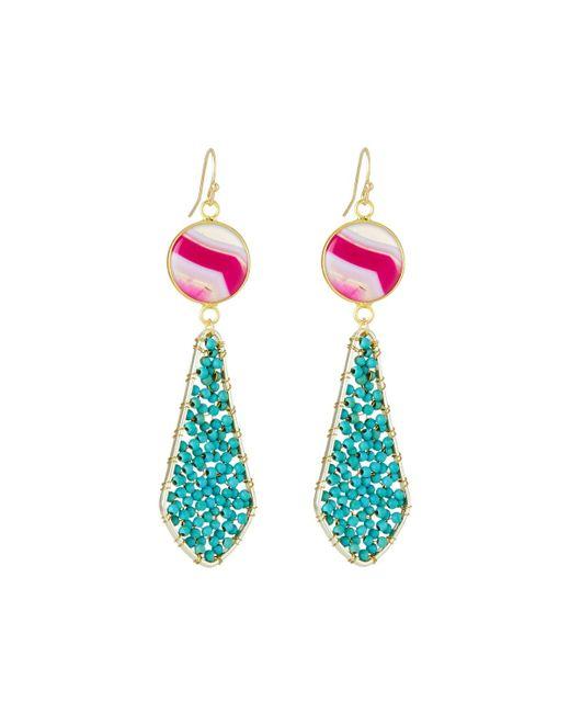 Panacea - Multicolor Beaded Double Stone-drop Earrings - Lyst