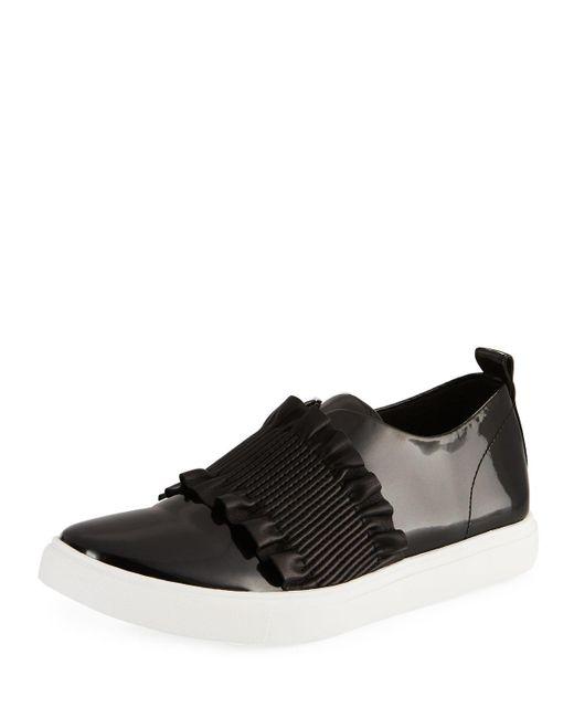 Donald J Pliner - Black Samie Ruffle Patent Slip-on Sneakers - Lyst