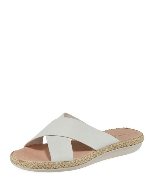 Tommy Bahama White Ilidah Crossed-strap Leather Sandals