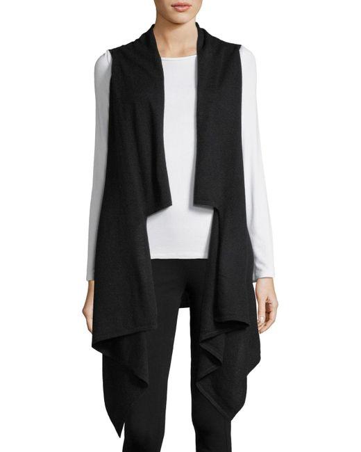 Neiman Marcus - Black Cashmere Draped Sleeveless Vest - Lyst