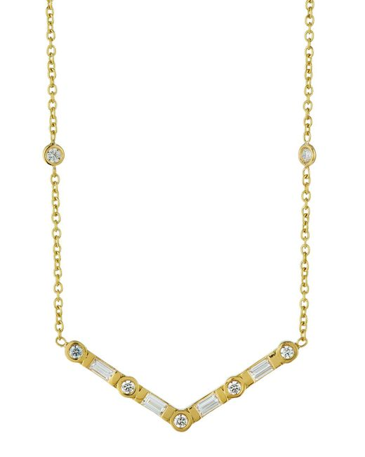 Penny Preville - Green 18k Emerald-cut & Round Diamond V Station Necklace - Lyst