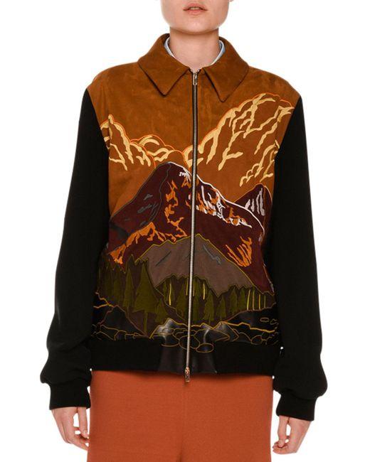 Stella McCartney - Multicolor Mountain Scene Faux-suede Zip Jacket - Lyst