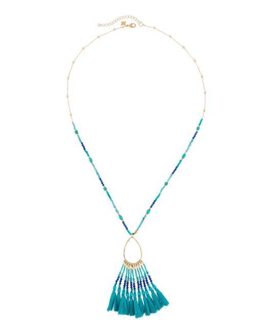 Panacea - Blue Beaded Teardrop Fringe Pendant Necklace - Lyst