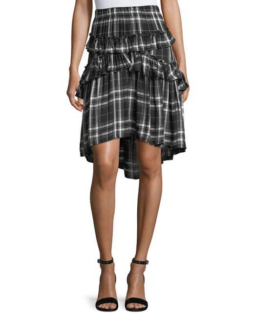 Max Studio | Black Ruffled Plaid Skirt | Lyst