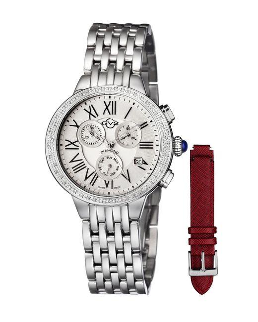 Gv2 - White 40mm Astor Steel Bracelet Chronograph Watch W/ Diamond Bezel & Interchangeable Strap - Lyst
