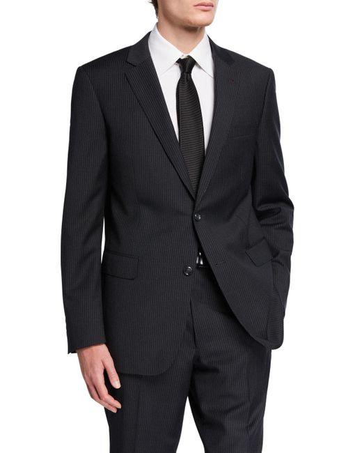 Neiman Marcus Gray Men's Pinstripe Trim Fit Two Piece Suit for men