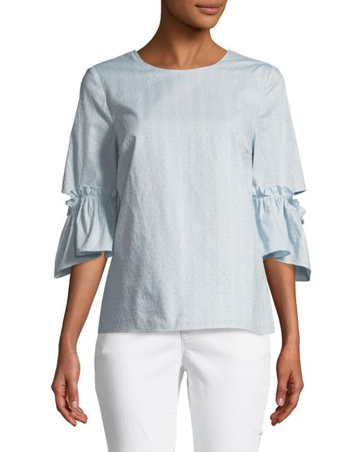 Cece by Cynthia Steffe - White Cutout Flare-sleeve Blouse - Lyst