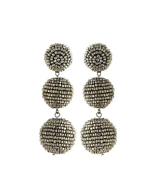 Kenneth Jay Lane | Beaded Gray Triple-drop Earrings | Lyst