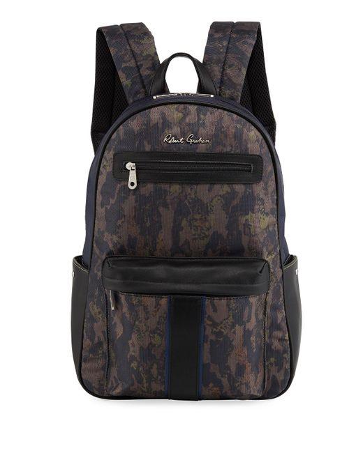 Robert Graham Blue Men's Albani Camo-print Backpack for men