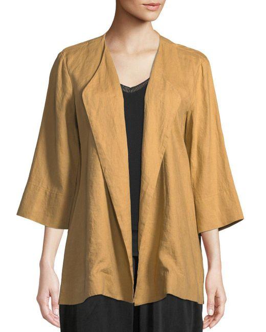 Donna Karan - Natural 3/4-sleeve Draped Linen Jacket - Lyst