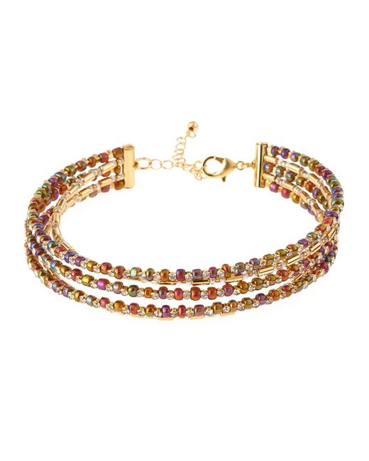 Fragments | Metallic Five-row Seed Bead Choker Necklace | Lyst