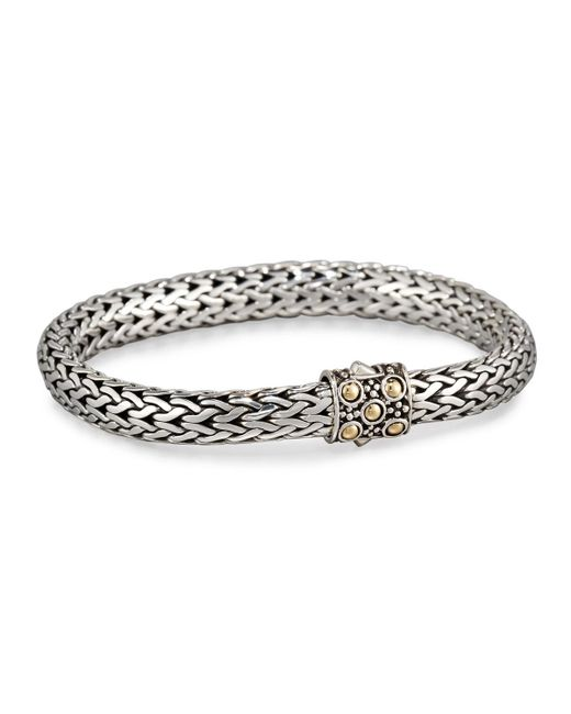 John Hardy - Metallic Dot Silver & 18k Gold Oval Bracelet Medium - Lyst