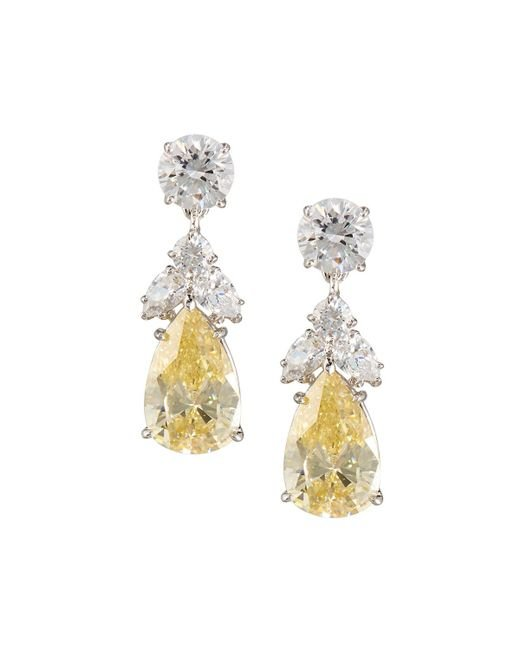 Fantasia by Deserio | White Pear Canary Crystal Drop Earrings | Lyst