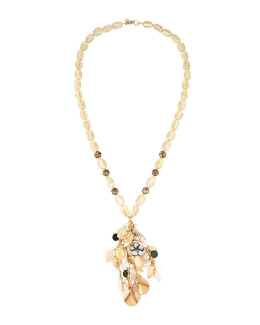 Lydell NYC | Metallic Long Shell Beaded Y-drop Necklace | Lyst