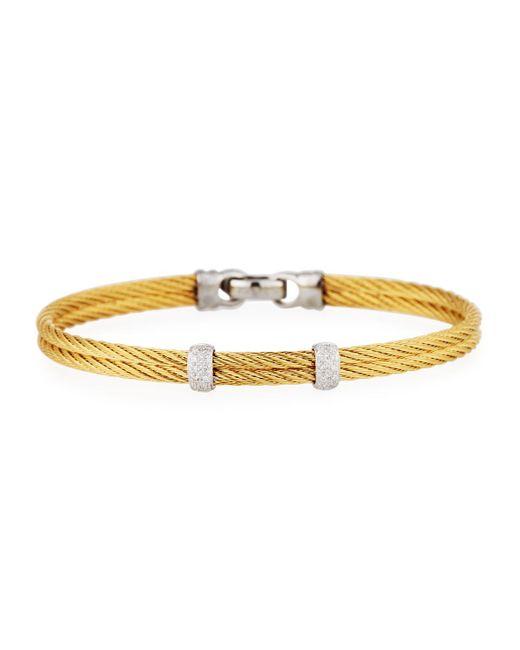 Alor   Metallic Classique Stainless Steel & Diamond Cable Two-row Bangle Bracelet   Lyst
