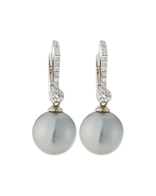Belpearl - 18k White Gold Diamond Lever Back & Pearl Earrings - Lyst