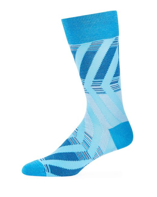 Bugatchi - Blue Men's Striped Cotton-blend Socks for Men - Lyst