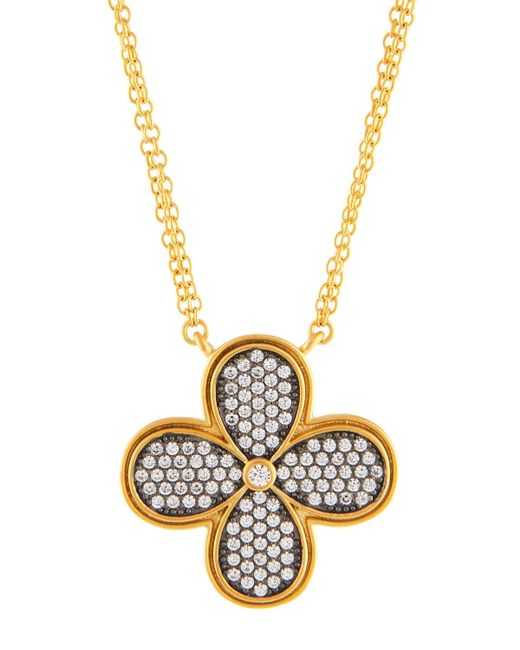 Freida Rothman - Metallic Double-strand Pave Crystal Clover Pendant Necklace - Lyst