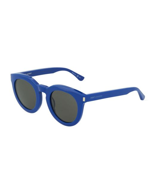 Saint Laurent - Blue Chunky Round Plastic Sunglasses - Lyst