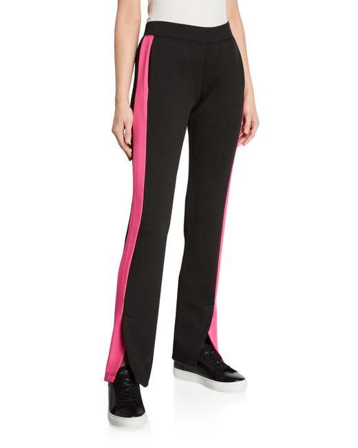 Pam & Gela Black Track Pants With Pink Stripe
