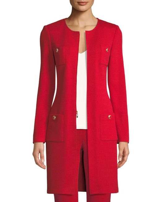 St. John - Red Santana-knit Jewel-neck Topper Jacket - Lyst