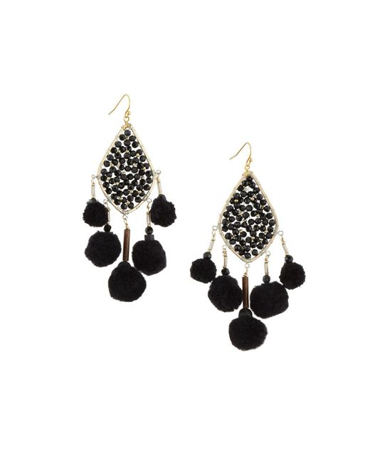 Nakamol - Black Beaded Pompom Crystal Kite Earrings - Lyst