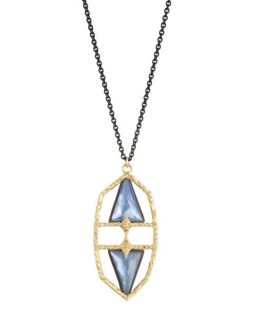 Armenta | Metallic Old World Geometric Triplet & Diamond Pendant Necklace | Lyst