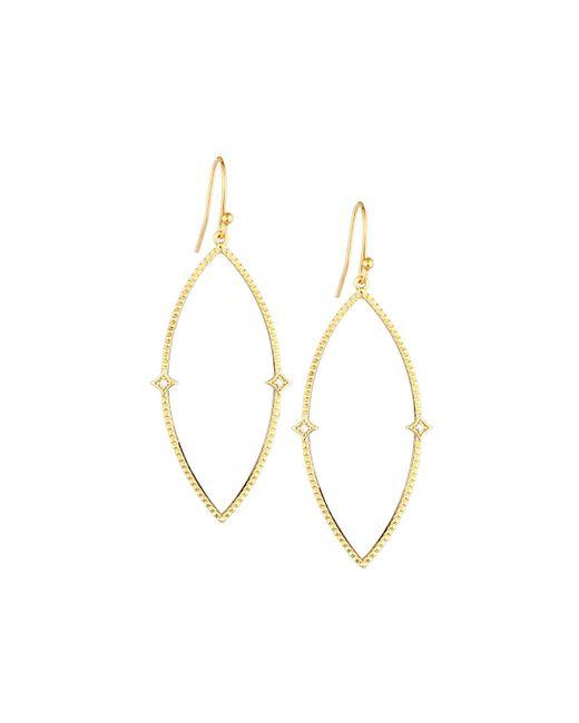 Panacea | Metallic Textured Golden Marquise Drop Earrings | Lyst