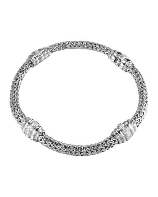 John Hardy | Metallic Bedeg Diamond-station Silver Bracelet | Lyst