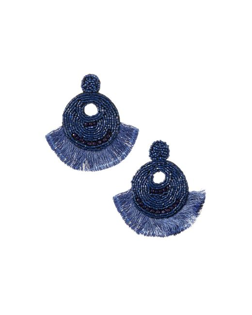 Lydell NYC - Blue Seed Bead & Fringe Earrings - Lyst