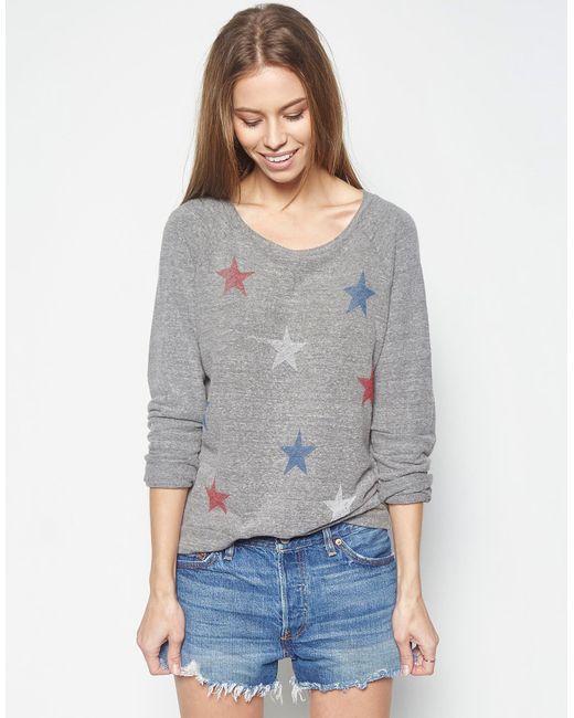 Lauren Moshi | Gray Aggie Color Mini Stripe Stars Classic Pullover | Lyst