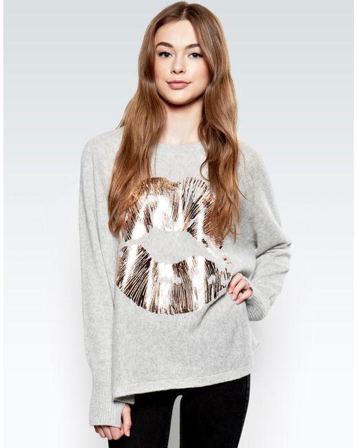 Lauren Moshi - Gray Hollis Rose Gold Foil Lip L/s Cashmere Pullover Sweater W/thumbholes - Lyst
