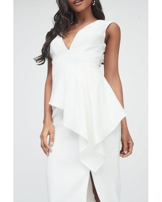 Lavish Alice - White Asymmetric Plunge Front Midi Dress - Lyst