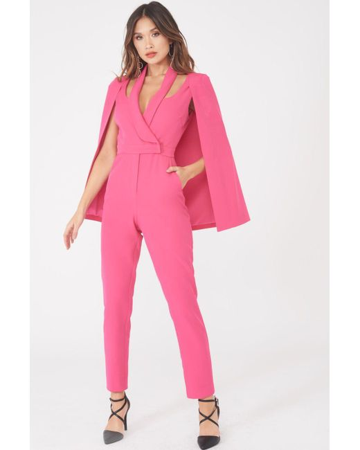 Lavish Alice - Signature Cape Blazer Jumpsuit In Bright Pink - Lyst