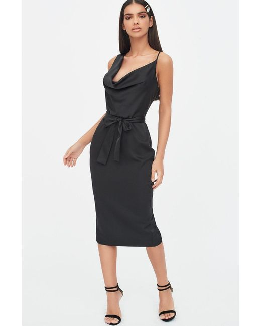 Lavish Alice Black Satin Cowl Neck Midi Dress